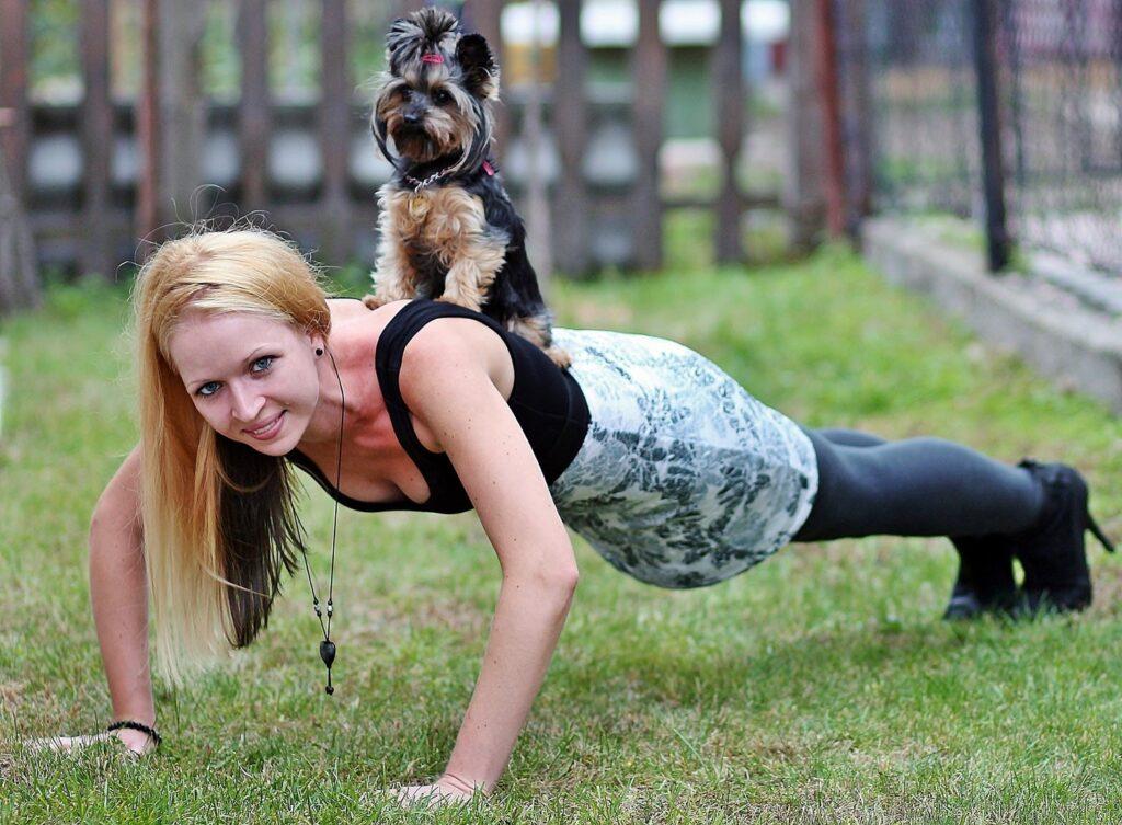 Final Takeaways, diamond push-ups woman with dog