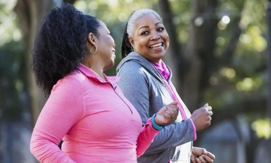 Walking for a workout, 2 women